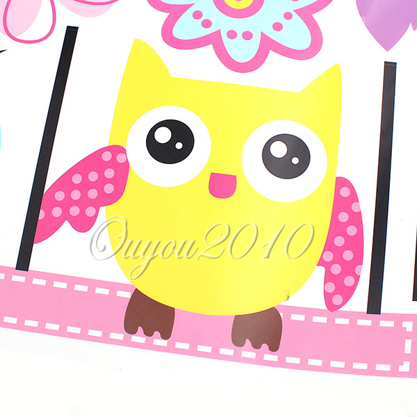 Väggdekor G : Huge cute owl bird swing flower tree wall stickers art decal kids