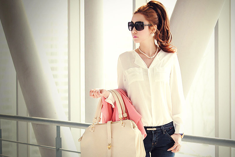 Spring Women Casual Solids V-neck Chiffon Loose Long Sleeve Shirt Blouse Summer