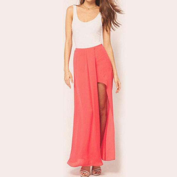 womens boho summer chiffon open side split skirt