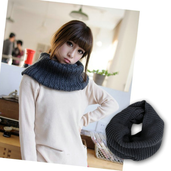 Unisex Women Winter Warm Infinity 2 Circle Cable Knit Cowl Neck Long Scarf Shawl