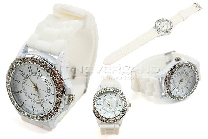 Fashion Geneva Bling Crystal Ladies Women Girl Jelly Silicone Quartz Wrist Watch