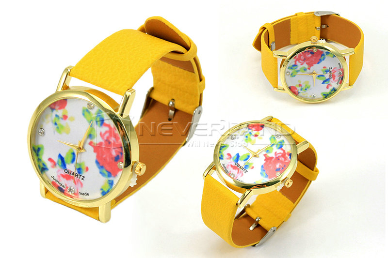 Women Girl Geneva Faux Leather Rose Flower Pattern Watch Quartz Wrist Watches