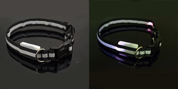 Dog Pet Collar Nylon Adjustable LED Light up Night Safety Collar Bright Flash ❤