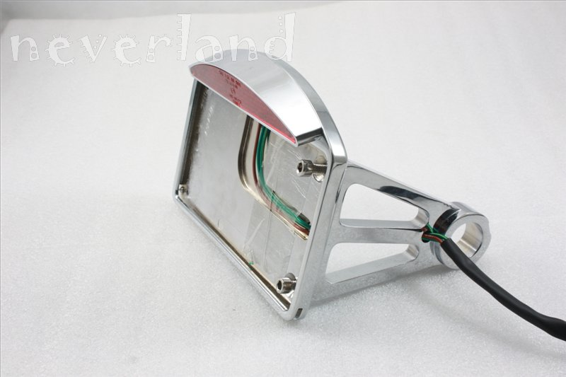 chrome side mount license plate frame bracket led brake light for harley ebay