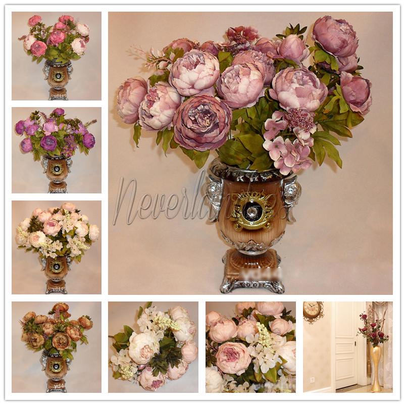 1 bouquet 13head vintage artificial silk fake peony flower