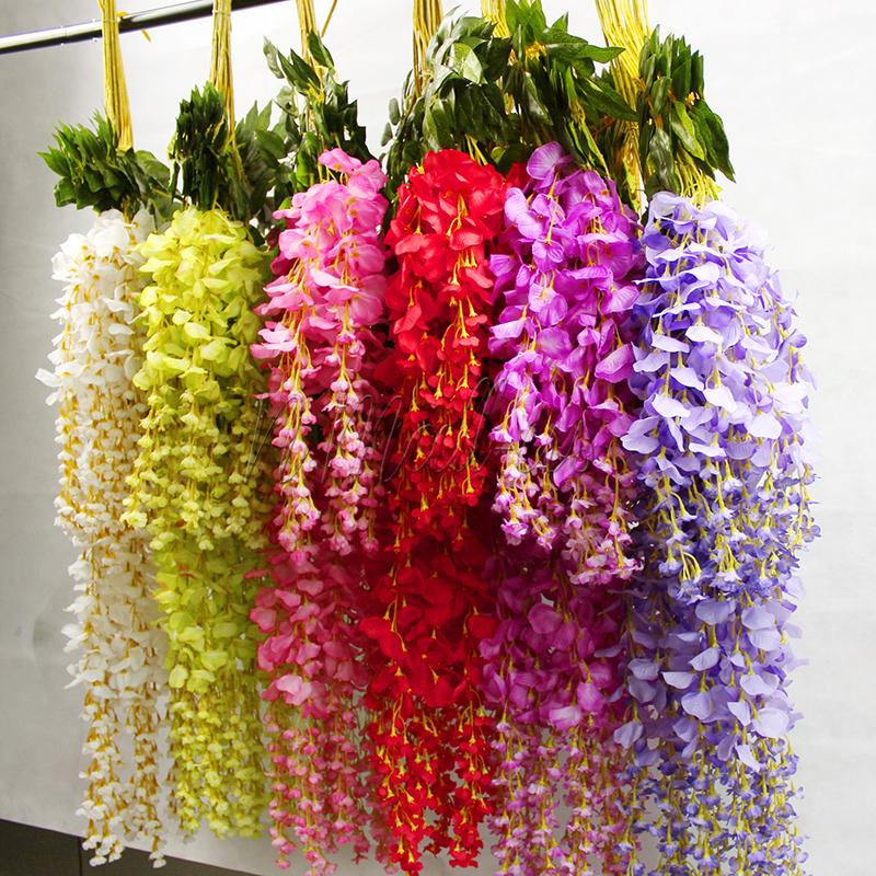 1pc artificial silk wisteria fake flower vine wedding decor home garden plant ebay. Black Bedroom Furniture Sets. Home Design Ideas