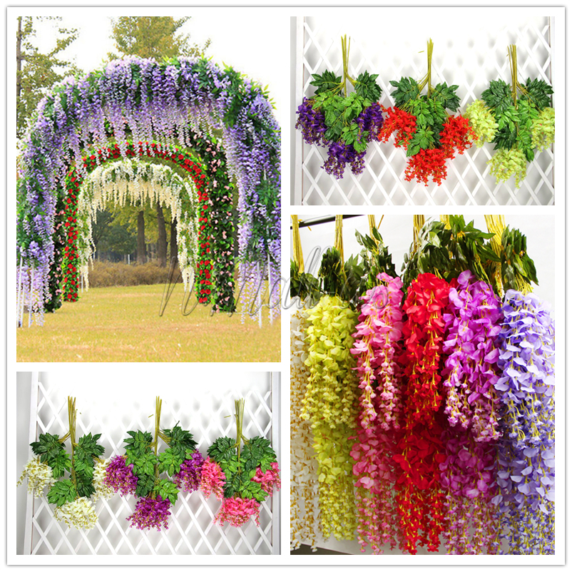 1pc artificial silk wisteria fake flower vine wedding decor home image is loading 1pc artificial silk wisteria fake flower vine wedding mightylinksfo