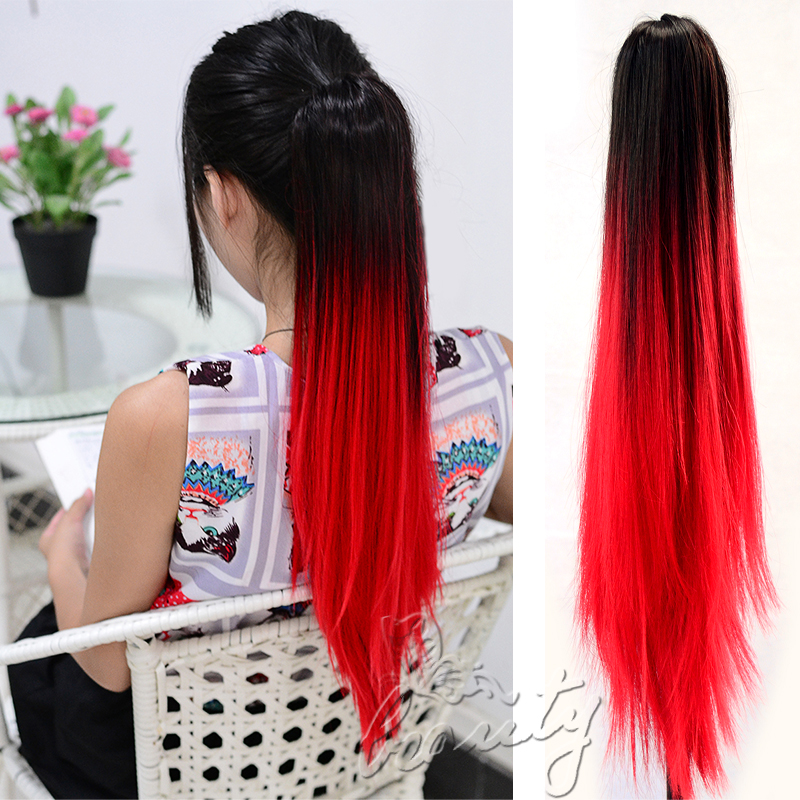 Sexy Long Straight Ponytail Dip Dye Colour Clip In Hair Extension Ombre Party