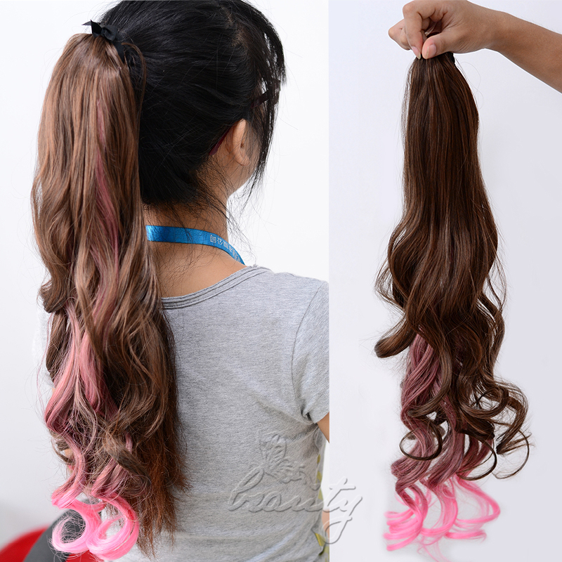 ombre clip in ponytail pony tail hair extension wrap on