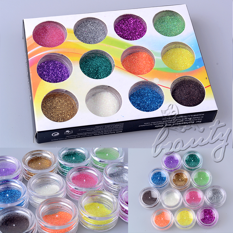 12 24 Solid Pure Glitter Mix Color Gel