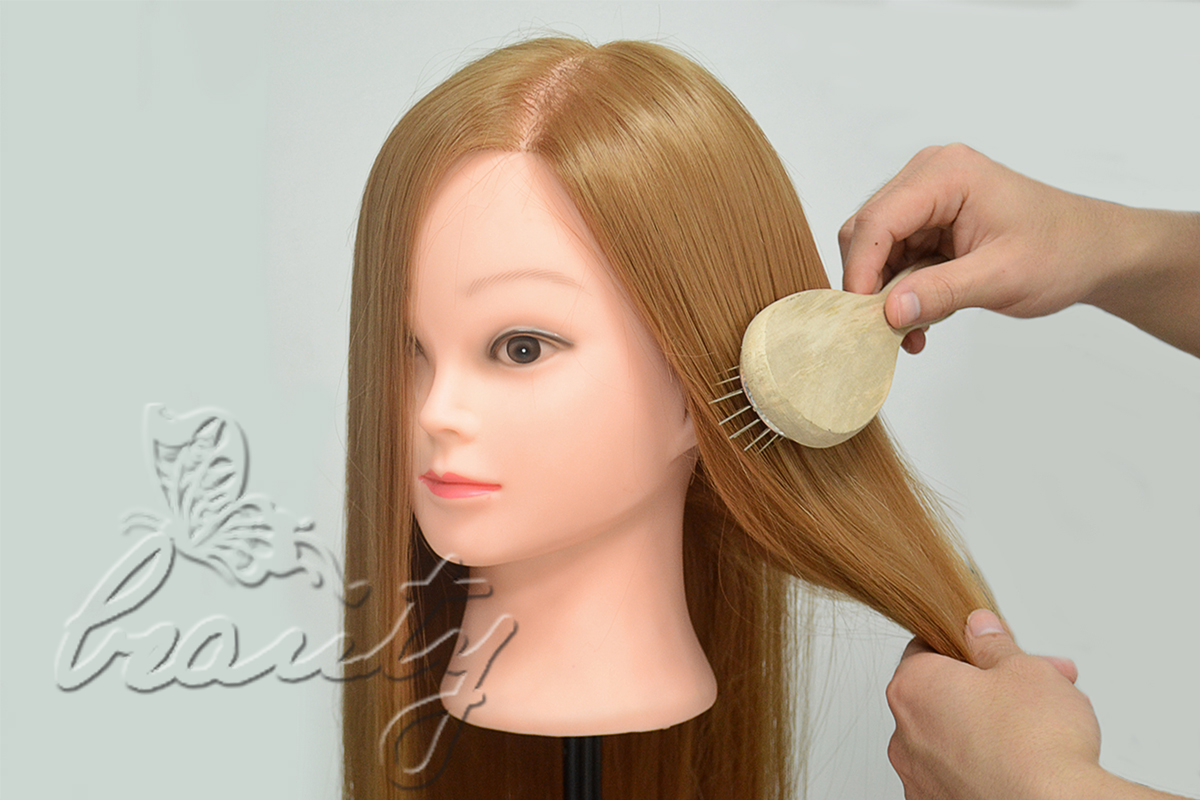 "Hair Styling Mannequin Head: 26"" TOP 30% Real Human Hair Hairdressing Training"