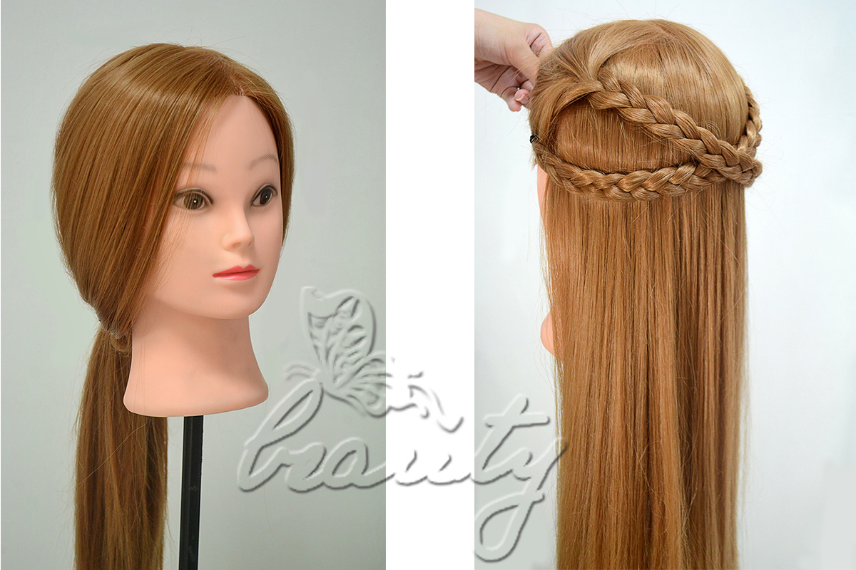 Hair Style Training : ... 30% Real Human Hair Hairdressing Training Mannequin Head/Manikin Doll