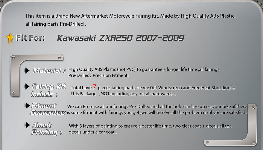Kawasaki ZX9R 98-99fairing description