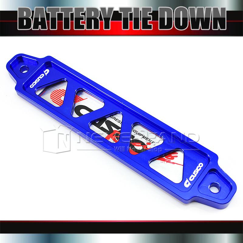 CNC Billet Aluminum Password Battery Tie Down Bar Universal 19.5cm Auto Car Blue